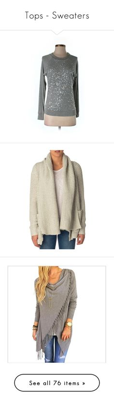 """""""Tops - Sweaters"""" by swimsmommy ❤ liked on Polyvore featuring tops, sweaters, grey, grey sweater, 525 america, 525 america sweater, pullover sweater, gray pullover sweater, cardigans and brown shrug"""