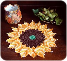 Mandala crochet stashbusters: sunflower by Frances Powell