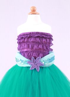 Tutu Skirt - Teal - Princess Ariel - Mermaid Costume - 12 Month to 2 Toddler Girl. $65.00, via Etsy.