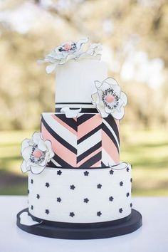 Abstract Chevron Colorful Cake