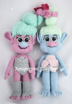 Twins: Chemille and Satin - Trolls by AmigurumiWitches on Etsy