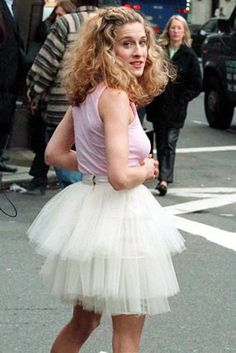 SJP in famous outfit from sex and the city opening credits. Xoxo