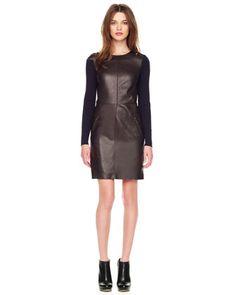 MICHAEL Michael Kors  Knit-Sleeve Leather Dress.