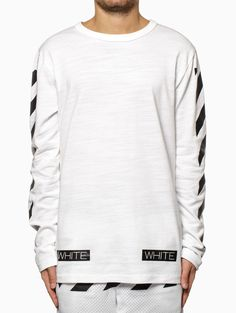 Striped long sleeve t-shirt from the S/S2015 Off-White c/o Virgil Abloh collection in white.