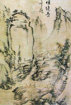 (Korea) 명경대 in Mt Geumgang by Hyeonjae Shim Sa-jeong (玄齋 沈師正, 1707-1769). ca 18th century CE. color on paper. 1707(숙종33)~1769(영조45)