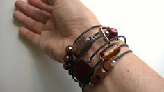 Brown spiral bracelet Brown memory bracelet by LesBijouxLibellule Brown Necklaces, Boho Jewelry, Unique Jewelry, Gifts For Women, Gifts For Her, Cardboard Jewelry Boxes, Caramel Brown, Memory Wire Bracelets, Bijoux Diy
