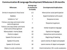 developmental milestones and what the child can achieve by meeting these milestones