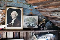 """My aesthetic isn't quite so rustic, but love the idea of mixing """"legit"""" historical art/photography with folk art"""