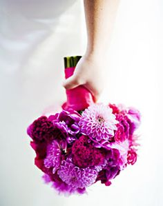 Pink and Purple Chrysanthemum Bridal Bouquet
