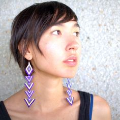 Pretty Purple and White Arrow Earrings by Inuit artist Caroline Blechert.