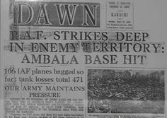 Old Newspapers (Daily Dawn of 19 Sept 1965) - PAF Planes hit Ambala Air Base - Rare newspapers about Pakistan