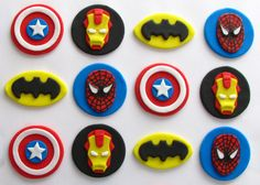 Maybe have a cake made and have them include these cupcake toppers.  Fondant Cupcake Toppers  Superhero Inspired by TopItCupcakes, $19.99