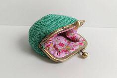 Crochet Mint coin purse with pink flower lining insidekiss