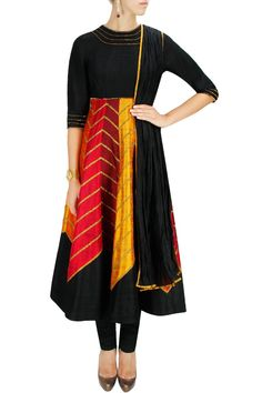Red, gold and black sequins and gota embroidered anarkali set available only at Pernia's Pop-Up Shop.