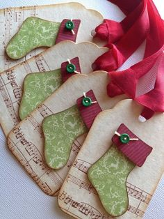 2014 Christmas wooden music sheet gift tag with Christmas stockings - Christmas red stains, Christmas green buttons