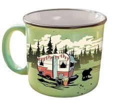 Beary Green Camping Mug - Morning coffee would taste so much better in camp.