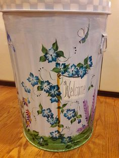 20 Gallon Hand Painted Galvanized Metal Trash/Garbage/Storage Can w/Side Handles and Tight Fit Lid by krystasinthepointe on Etsy