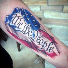 Awesome We The People American Flag Male Tattoo Ideas