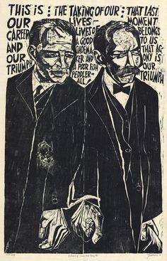 Antonio Frasconi, woodcut: Sacco and Vanzetti || I am so grateful to have been a student of Antonio's at Purchase, rip<3
