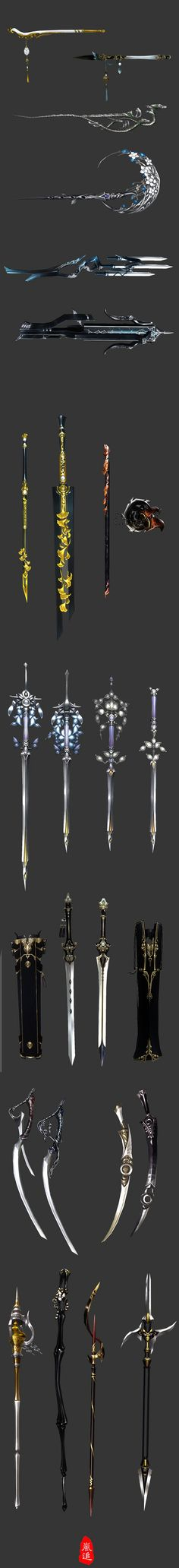 These weapon designs are so dynamic in creativity--I especially love the fourth one down, it has a feminine quality, but the rounded structure makes it less traditional from a weapon design.