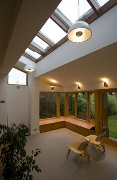 Sloping roof and windows on extension