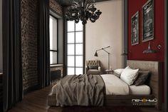 """Дизайн интерьера спальни. Стиль: лофт. Цвета: бежевый, коричневый, чёрный, красный, вишневый. Студия дизайна """"Печёный""""."""