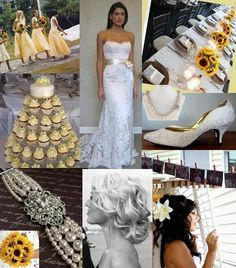 Flowers, Hair, Reception, Cake, White, Dress, Bridesmaids, Yellow, Jewelry, Inspiration, Board, Vintage, Sunflower