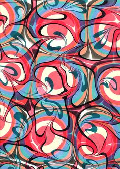 """Over-Marbled Bull's Eye, Hand-Marbled Paper 19"""" x 25"""" (48cm x 63cm) by ChenaRiverMarblers"""