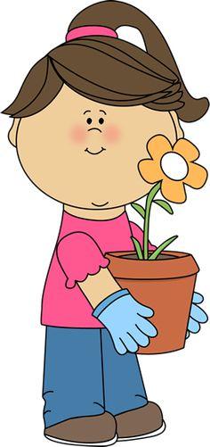 Girl holding a flowerpot