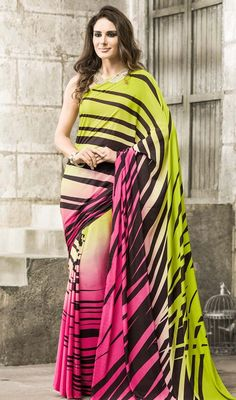 Attract the spotlight among the crowd with this multicolor shade printed chiffon saree. The printed work appears to be like chic and best for any function. Upon request we can make round front/back neck and short 6 inches sleeves regular sari blouse also. #onlineblockprintsarees #buyonlineprintedsaree #fancyblockprintedsari