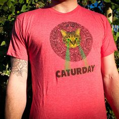 Mayan Laser Caturday Heather Red Tee with neon green by HotlineInk, $22.00