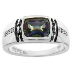 Sterling Silver Mystic Fire Topaz and Diamond Men's Ring (0.048 cttw, I-J Color, I2-I3 Clarity), Size 10, (mens ring, sterling silver, band, blue topaz, mens jewelry, mens sterling silver, polished finish, rings, wedding)mens wedding rings