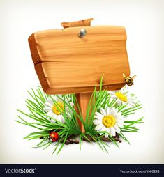 Spring time for a picnic wooden sign in a grass vector image on VectorStock Class Decoration, School Decorations, Foto Montages, Wooden Signs, Wooden Boards, Certificate Design Template, Textile Pattern Design, Masha And The Bear, Art Corner
