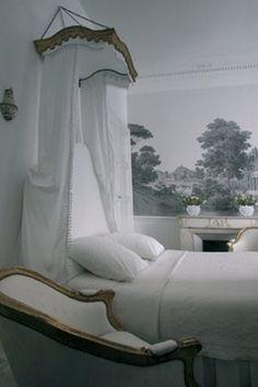 romantic white/grey/gold bedroom.   loooove the walls.