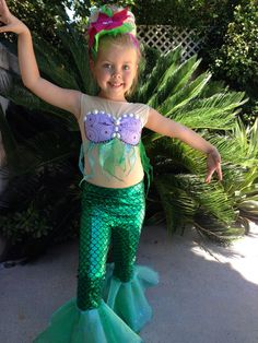 Ariel Costume Ariel Leggings for Girls Size by uccostumes on Etsy  sc 1 st  Pinterest & Little Mermaid Costume Tutorial | My Crafty Spot - When Life Gets ...