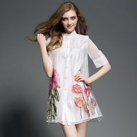 Summer Fashion Organza Embroidery A-Line Loose Dress Stand Collar Half Sleeve Single-Breasted White Dress Woman Dress OY60869