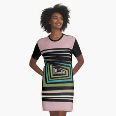 'Multi-color Abstract design ' Graphic T-Shirt Dress by SeminaByRoselia I Dress, Shirt Dress, T Shirt, Designer Dresses, Bodycon Dress, Dresses For Work, Graphic Design, Abstract, Printed