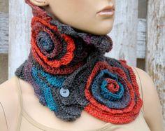 9c467e519438 Crochet Scarf Cowl chunky Unique crochet scarf Capelet Neck Warmer Orange  Grey blue Chunky Knit Freeform