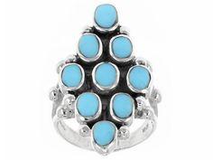 Southwest Style By Jtv(Tm) Oval Cabochon Blue Turquoise Sterling Silve