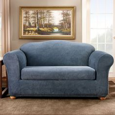 Sure Fit Striped Loveseat Slipcover, Blue