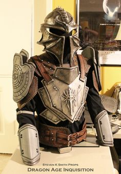 Dragon Age Inquisition WIP Inquisitor Armor 5 by SKSProps on deviantART: Started painting the armor and leather.  The helmet is resin cast, the armor and leather are all constructed out of eva foam.