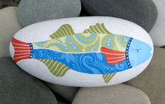 Hand Painted Cape Cod Beach Stone/Whimsical Fish/Unique Paperweight/Coastal Decor/Decorative