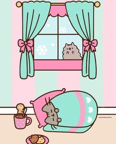 Pusheen Christmas, Pusheen Love, Pusheen Cat, Kawaii Cat, Kawaii Wallpaper, Kawaii Drawings, Cute Drawings, Pictures To Draw, Cute Pictures