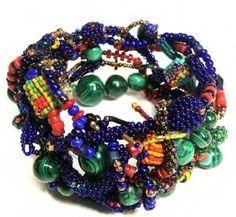 JOYCE J. SCOTT BRACELET Peyote-stitched glass beads, coral, malachite, thread, wire