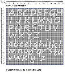 FREE-Filet Crochet PATTERN Alphabet 1