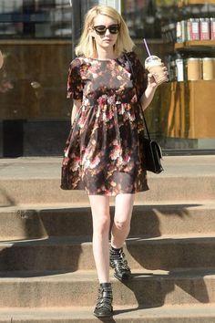 Emma Roberts wearing Proenza Schouler Lunch Leather Shoulder Bag, Givenchy Embellished Leather Boots and Victoria Beckham Vb Amber Tortoise Sunglasses