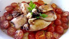Calamares al limón - Calamari al limone con pomodorini - Squid lemon recipe. italian food, italian recipe, comida italiana, cocina italiana