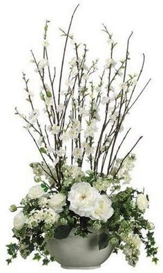 Silk Plants Direct Cherry Blossom, Rose, Ranunculus - Cream - Pack of 1 Easter Flower Arrangements, Artificial Flower Arrangements, Beautiful Flower Arrangements, Artificial Flowers, Beautiful Flowers, Tall Floral Arrangements, Exotic Flowers, Purple Flowers, Altar Flowers