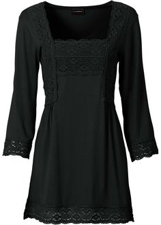 black tunic top with beautiful crochet lace