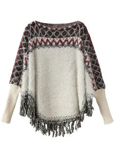 Women's Grey Geo Floral Pattern Batwing Tassel Loose Knit Poncho Cape Sweater -- Awesome products selected by Anna Churchill